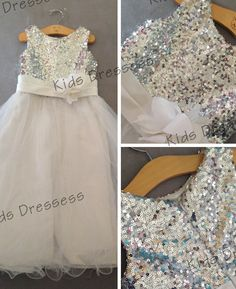 On sale Flower Girl, Dress Sequin Double Sparkly Mesh Overlay Flower Girl Bridemaids, Wedding Dress