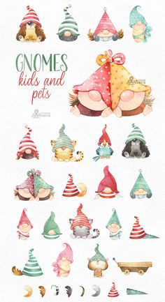 Christmas Gnome, Christmas Crafts, Christmas Quotes, Gnome Paint, Diy Xmas, Watercolor Images, Christmas Drawing, Animals For Kids, Baby Animals