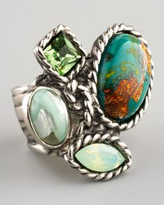 #NMFallTrends Four-Stone Arty Ring, Green by Yves Saint Laurent at Neiman Marcus.