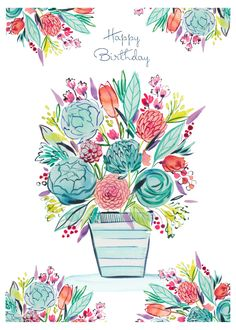 Leading Illustration & Publishing Agency based in London, New York & Marbella. Happy Birthday Greetings Friends, Happy Birthday Floral, Birthday Wishes And Images, Happy Birthday Celebration, Birthday Blessings, Happy Birthday Messages, Card Sentiments, Happy B Day, Floral Illustrations