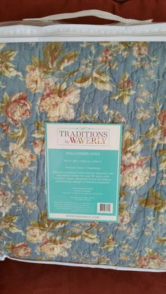 Waverly FULL/QUEEN Quilt Cotton Reversible Bedding Blue Floral Chambray New #Waverly #Traditional