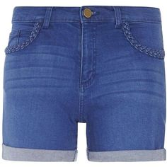 Dorothy Perkins Bright Blue Denim Plaited Shorts (2.420 RUB) ❤ liked on Polyvore featuring shorts, pants, blue, jean shorts, blue shorts, denim shorts, woven shorts and denim short shorts