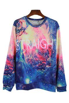 Blue Fancy Ladies 3D Galaxy Crew Neck Letters Printed Sweatshirt #Cheap #Sweatshirts #2014Sweatshirts For #Womens Sexy #Printed Sweatshirts Cute Sweatshirts For #Girls Sweatshirts #Outfits pinkqueen.com