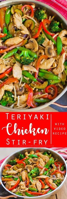 'Teriyaki Chicken Stir-Fry' made with tons of veggies and a home-made sauce! - 'Teriyaki Chicken Stir-Fry' made with tons of veggies and a home-made sauce! Teriyaki Chicken, Make Teriyaki Sauce, Teriyaki Stir Fry, Stir Fry Recipes, Cooking Recipes, Vegetarian Cooking, Easy Cooking, Sauce Recipes, Taco Salat