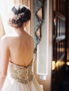Deep V Back Wedding Gown With Jeweled Bodice   photography by http://www.emandersonphotography.com/