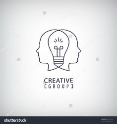 Vector Creative Mind Logo, Creative Group Logo, Two Heads And Light Bulb Between Illustration. Thinking, Creating New Ideas Concept. Outline Logo - 426127519 : Shutterstock