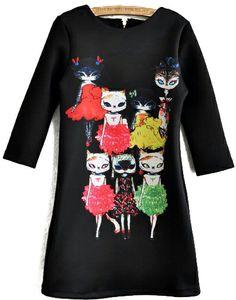 Black Half Sleeve Cat Lady Print Dress US$19.25