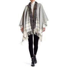 Mitchies Lines Design & Genuine Fox Fur Trim Woven Wrap ($161) ❤ liked on Polyvore featuring accessories, scarves, light grey, woven shawl, braided scarves, wrap shawl, wrap scarves and woven scarves