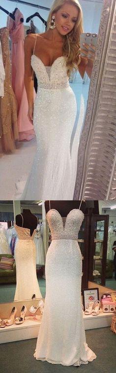 Prom Dress, Sexy Prom Dress, Mermaid Prom Dress, Spaghetti Prom Dress, Strap Prom Dress, Crystal Prom Dress, Floor Length Prom Dress, Formal Occasion Dress