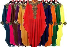 Moroccan Sheer Chiffon Caftan Gold Embroidery Dubai by aboyshop, $44.44