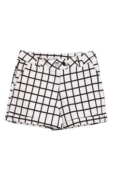 White Black Plaid Pockets Buttons Shorts - Sheinside.com