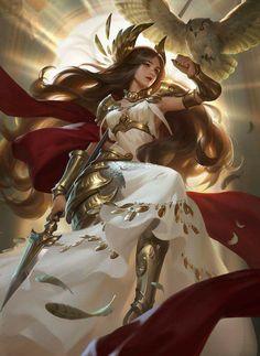 Fantasy art of Athena Fantasy Warrior, Fantasy Girl, Fantasy Women, Fantasy Characters, Female Characters, Character Inspiration, Character Art, Greek Mythology Art, Roman Mythology