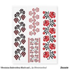 Ukrainian Embroidery Black and Red Temporary Tattoos