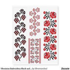 Ukrainian Embroidery Black and Red Temporary Tattoos Ukrainian Tattoo, Parent Tattoos, Quarter Sleeve Tattoos, Shellac Colors, Poppies Tattoo, Embroidery Tattoo, Nail Tattoo, Dope Tattoos, Cross Stitch Borders