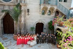 Middle school sweethearts marry in an elegant, yet modern California wedding with pops of red and lush white flowers. White Wedding Flowers, White Flowers, Red Bridesmaid Dresses, Red Bridesmaids, Mission Inn, Pure Romance, Church Wedding, California Wedding, Wedding Pictures