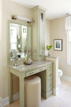This bathroom vanity is the perfect space for getting ready and has plenty of storage for toiletries and make-up.