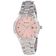 This Bulova watch has a pink dial surrounded by dazzling white diamonds on the bezel. This Swiss quartz watch features a scratch-resistant sapphire crystal for added durability. Best Watch Brands, Discount Watches, Bulova Watches, Online Watch Store, Stainless Steel Bracelet, Cool Watches, Quartz Watch, Bracelet Watch, Unisex