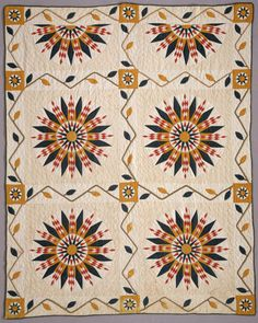 Mariner's Compass variation.  This quilt is one of a pair of matching quilts made by Sally Beaird Lewellin, each with designs in different color combinations.  ca. 1885. 62 x 78 inches.