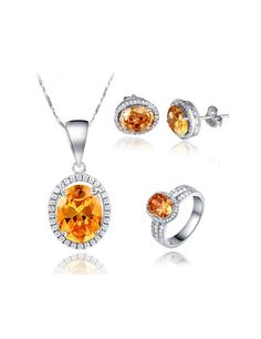 Oval Cut Cubic Zirconia Champagne Gemstone 925 Sterling Silver Plated White Gold Jewelry Set