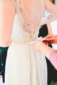 Wedding dress: Sarah Seven - Urban Rustic Wedding in Los Angeles by Rose Forbes Of Two Tree Events (Coordination) + onelove photography