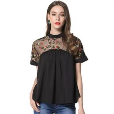 Mara Alee Women Blouses Summer Tops Black Embroidered Blouses Shirts Blusas Plus Size mujer de moda 2017 Women Clothing WD188