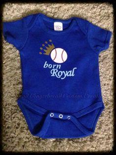 KC Royals Onesie, Royals Baby Creeper, Romper, Kansas City Royals, Royals Baseball, Baseball Onesie by RedheadGingerbreadDJ on Etsy https://www.etsy.com/listing/271084598/kc-royals-onesie-royals-baby-creeper