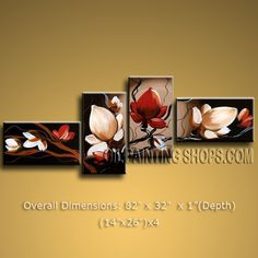 Tetraptych Contemporary Wall Art Floral Painting Tulip Flowers Artwork. In Stock $138 from OilPaintingShops.com @Bo Yi Gallery/ ops2697