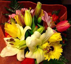 Bouquet di tulipani,gigli e gerbere