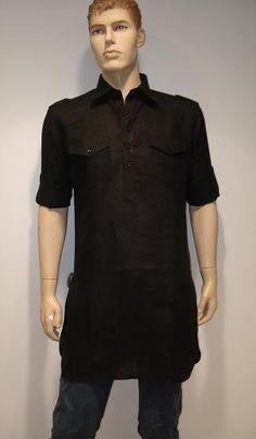 G3 Fashions Black Linene Short Pathani Kurta  Product Code : G3-MSP1006 Price : INR RS 2095