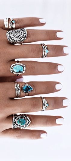 Ethnic Jewelry – Hippie / Bohemian – Turquoise Ring - new season bijouterie Jewelry Rings, Jewelry Accessories, Fashion Accessories, Fashion Jewelry, Jewlery, Cheap Jewelry, Jewelry Box, Fine Jewelry, Jewelry Making