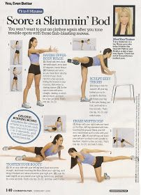 "Here are 2 ""Fit in 6 Minutes"" from cosmopolitan.com with trainer Tracy Anderson .  I have incorporated the Tracy Anderson Method  to my week..."