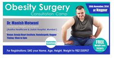 Dr.Manish Motwani,Head of Department of Weight Loss Surgery (bariatric Surgeon) is setting up a Free Camp,Obesity Surgery  Consultation camp on 30th Nov'2014 at Arneja Heart Institute ,Ramdaspeth , Nagpur. For registrations SMS your NAME,AGE,HEIGHT,WEIGHT to 9821350957. Free Weight Loss Surgery Consultation Camp.Registration Compulsory. #Weightlosssurgery #Obesity #ObesitySurgery #Nagpur #ManishMotwani #Bariatric #Surgeon #Camp #Free #Aasthahealthcare