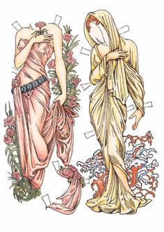 Paper Dolls in the Style of Alphonse Mucha