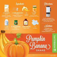 Pumpkin Banana!  295 Calories  30 grams of Protein 0.5 gram of Fat  43