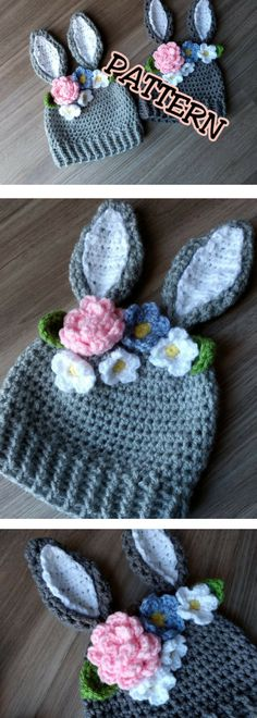 Crochet PATTERN Bunny Hat with Flowers crown, Crochet Easter Hat Pattern, newborn bunny hat; crochet pattern toddler bunny hat; child hat, Easter crochet, DIY Easter Gift, Pattern is Available for Download After Purchase #ad