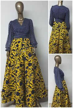 This is a beautiful African Print Chiffon bodice Maxi Dress with bishop Sleeves, and ruched waist. African Maxi Dresses, African Fashion Ankara, Latest African Fashion Dresses, Ankara Dress, African Print Fashion, Africa Fashion, African Attire, African Wear, African Women