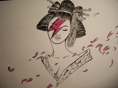 David Geisha Bowie. Ink and Markers on paper