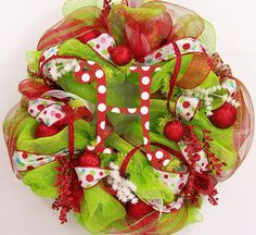 Image from http://www.stupic.com/images/cute-diy-christmas-wreath-creation-using-green-and-red-polkadot-ribbons.jpg.