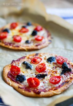 These mini pizzettas are made with a simple paleo pizza crust and just a few fresh ingredients. Cheese can be used for a primal version or if tolerated.