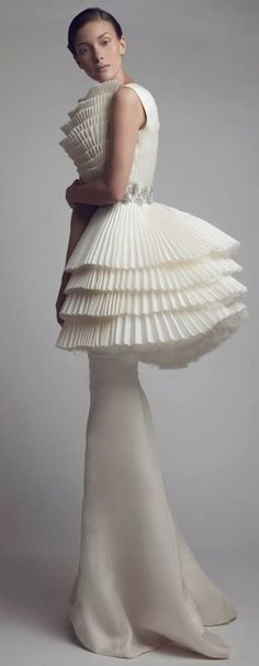 Sculptural Fashion - white haute couture dress with tiered pleats // Ashi Studio