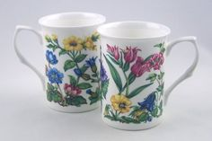 Pair Fine English Bone China Mugs - Alpine Tapestry Chintz - Made in England By Adderley China Fine English Bone China. Made in England by Adderley China, Staffordshire, England. Alpine Tapestry Chintz. Dishwasher and Microwave Safe. Gift Wrapping Available at Checkout.  #Adderley,_Staffordshire,_England #Kitchen