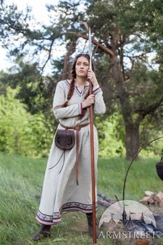 """Viking Natural Linen Dress """"Eydis the Shieldmaiden"""". Available in: natural flax linen, olive green flax linen :: by medieval store ArmStreet Costume Viking, Viking Garb, Viking Dress, Medieval Costume, Medieval Tunic, Larp Costumes, Viking Clothing, Historical Clothing, Renaissance Clothing"""
