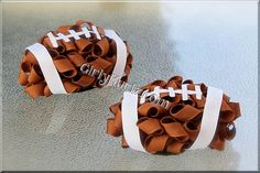 Football Hair Bow need these with Orange and black ribbon for our little bengal fans...