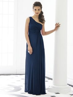 One shoulder empire waist full length lux chiffon dress w/ twist detail at draped bodice. Sizes available 00-30W, and 00-30W extra length.   http://www.dessy.com/dresses/bridesmaid/6651/