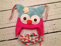 Light Blue and Pink Owl Crochet Hat for Girls