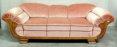 "Art Deco seating. ""Ile de France"", an original French Art Deco sofa design from the late 1920's to early 1930's. This French design is a very traditional Art Deco look from the era and is shown in a mohair fabric. Dimensions of the original sofa are 84"" wide x 32"" deep x 27"" tall."
