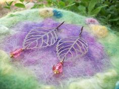 Copper Leaf with Rose Colored Gem Earrings by GratefulBeads, $10.00