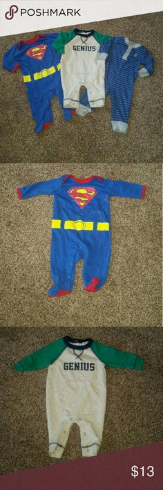 Boy pajamas Bundle of 3 pajamas very good condition only superman has very slight sign of fading the one that says genius has been washed but never worn the nautical one worn once  Superan and genius (brand Cherokee) is size 0-3 months   Nautical is 3 months Carter's Carter's One Pieces Footies