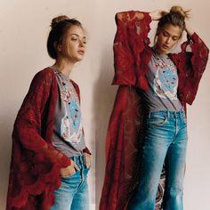 23 Ideas for style boho dress shirts Hippy Chic, Boho Chic, Boho Fashion, Autumn Fashion, Wine Dress, Pink Style, My Style, Lace Cardigan, Bohemian Style