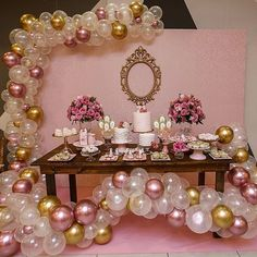 Ideas Birthday Party Dcoration Kids Pink And Gold Gold Birthday Party, 15th Birthday, Gold Party, Birthday Balloons, Birthday Party Decorations, 1st Birthday Parties, Party Themes, Pink And Gold Decorations, Balloon Decorations